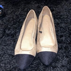 Black tip tan flats from New York and Company